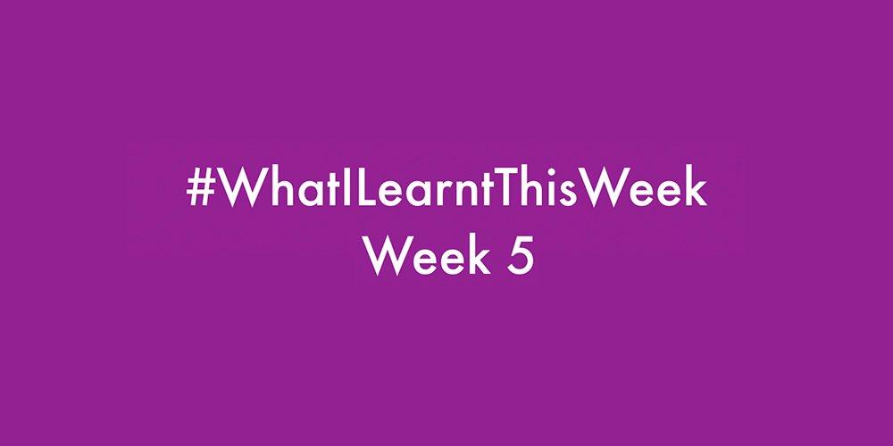 what i learnt this week 2016 :: WEEK 6